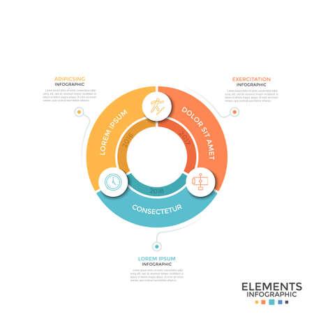 Camembert divisé en 3 secteurs colorés égaux avec symboles linéaires et indication de l'année. Concept de cycle de développement annuel. Modèle de conception infographique simple. Illustration vectorielle pour rapport.