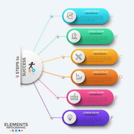 Circle connected to 6 rounded elements with linear symbols and place for text inside. Concept of six progressive steps of successful development. Infographic design template. Vector illustration.