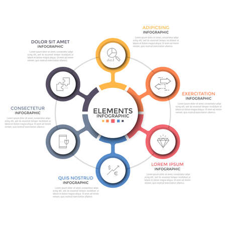 Circular diagram. Six colorful round elements with linear symbols inside placed around center. Concept of 6 features of startup project. Modern infographic design template. Vector illustration. Ilustrace