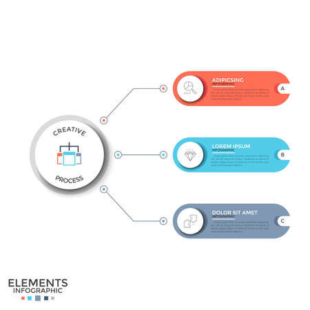 Three multicolored rounded elements with thin line icons and place for text inside connected by lines to main circle. Concept of 3 options to choose. Infographic design template. Vector illustration.