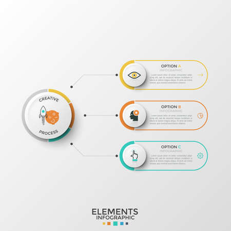 Three elements with thin line symbols and place for text inside connected to circle. Concept of 3 characteristics of successful startup launch. Modern infographic design template. Vector illustration.
