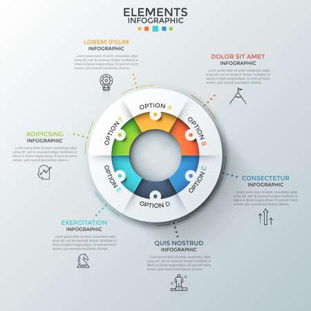 Diagramma ad anello diviso in 6 parti uguali, pittogrammi a linee sottili e caselle di testo. Concetto di sei fasi del processo ciclico. Layout di progettazione infografica moderna. Illustrazione vettoriale per sito Web, relazione. Vettoriali
