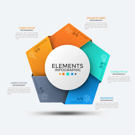 Five colorful angles with thin line symbols inside placed around round element in center. Concept of 5 portions or pieces of whole. Creative infographic design template. Vector illustration. Archivio Fotografico