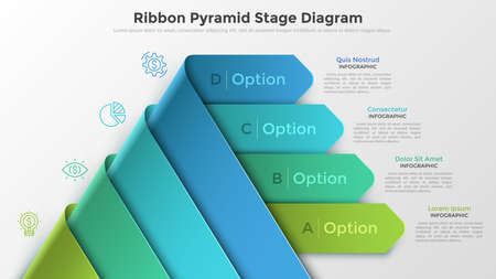 Modern infographics options banner with pyramid made of 4 realistic curved colorful ribbons. Vector. Can be used for web design and workflow layout