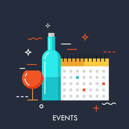 Flat design banner for events web page, calendar, planning, marketing. Modern style logo vector illustration concept. Can be used for banner, website, poster, advertisement.