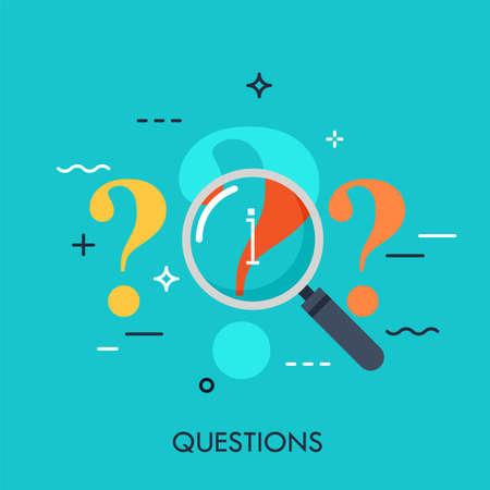 Point d'interrogation en cours d'examen avec loupe. Processus de recherche d'informations, analyse des problèmes, recherche de réponses et concept de recherche, icône. Illustration vectorielle dans un style plat pour site Web, bannière.