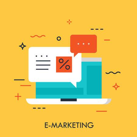 Flat design of online e-marketing, laptop message, best price offer. Modern minimal style logo vector illustration concept. Ilustracja