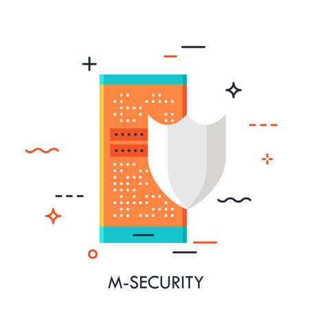 Shield and smartphone with lock screen, mobile security concept, payment protection, data encryption, information safety icon. Vector illustration in flat style for website, banner, poster, blog.