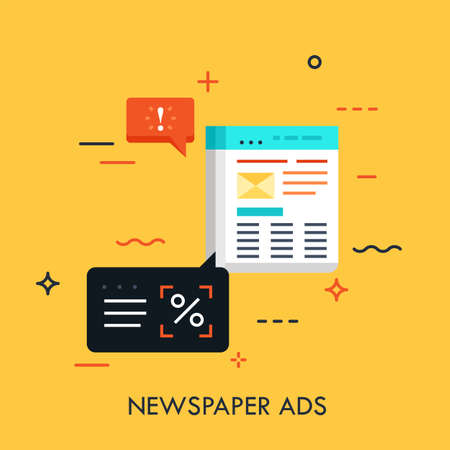Business newspaper with advertisements and speech bubbles. Announcement in periodical, marketing method concept. Vector illustration for brochure, presentation, website, poster, print, banner. Ilustracja