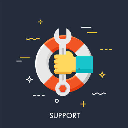 Hand holding wrench or spanner against lifebuoy on background. Technical support service, response and resolution, problem solving concept. Vector illustration for website, banner, header, promo.