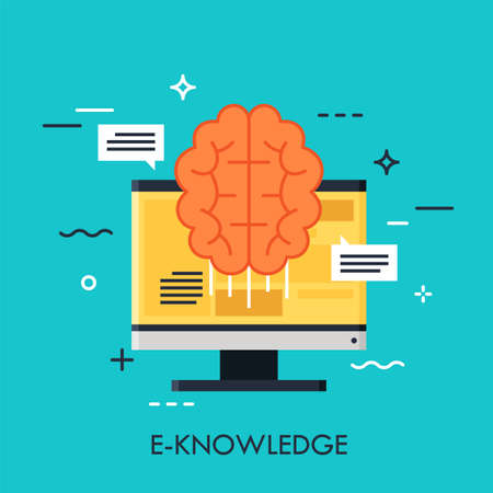 Computer screen and brain. E-knowledge, electronic learning, internet studying and online education concept. Vector illustration in flat style for website, banner, header, mobile application. Çizim