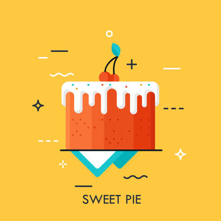 Chocolate cake covered with sugar glaze. Pie with berries on top. Confectionery advertising. Sweet foods and desserts delivery service concept. Vector illustration for website, banner, header, promo.