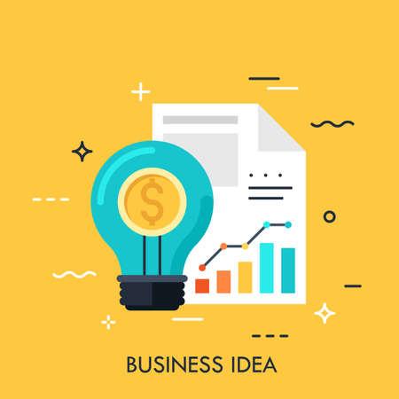 Glühbirne, Dollarzeichen und Dokument mit Diagrammen, Grafiken. Geschäftsidee, modernes Denken, statistisches Datenverarbeitungskonzept. Vektorillustration im flachen Stil für Website, Banner, Präsentation.