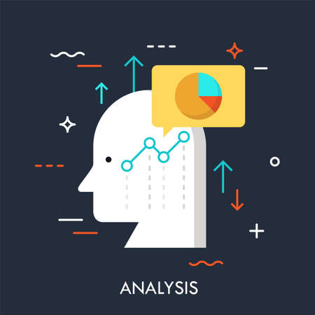 Human head, speech bubble, graphs and charts. Business analysis, analytical thinking, growth strategy development concept. Vector illustration in flat style for website, banner, poster, report. Ilustracja