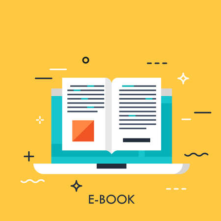 Electronic book icon, digital reading concept, internet learning, e-book library, online magazine. Vector illustration in flat style for website, banner, header, advertisement, presentation. Çizim