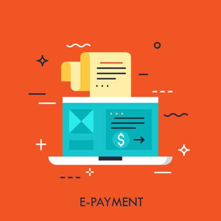 Concepto de diseño plano moderno para pago electrónico. Ilustración de vector con laptop y vale para compras, método de pago, banca electrónica.