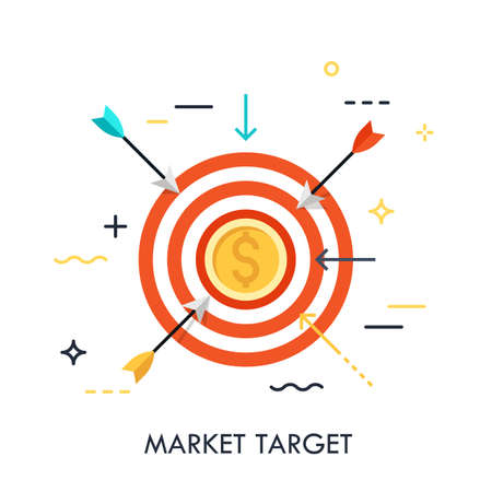 Arrows flying towards shooting target with dollar coin in center. Market goal achievement concept. Modern vector illustration for website banner, brochure, presentation, poster, print, advertisement.