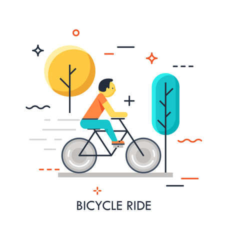 Man riding bicycle in the forest. Minimal flat concept for healty lifestyle or outdoor activities. Vector illustration. Usage: e mail newsletters, web banners, headers, blog posts, prints, applications Ilustracja