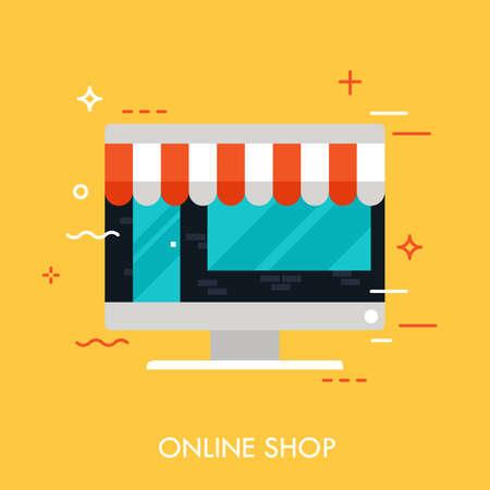 Flat design of online store, internet shopping, shop building inside screen. Modern style logo vector illustration concept. Ilustracja