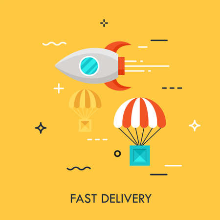 Flying rocket and carton box dropped by parachute. Express delivery service, online shopping, electronic commerce, cargo shipping concept. Vector illustration in flat style for website, banner.