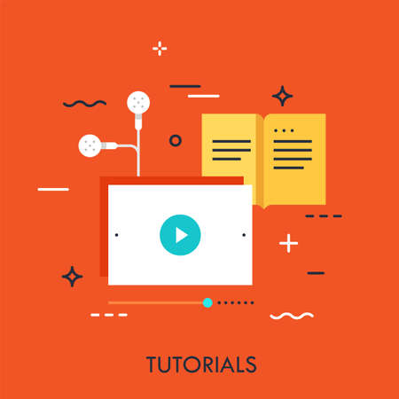 Online studying, distance education, web conferencing and e-learning application concept, video tutorials advertisement. Vector illustration in flat style for website, blog, banner, header.
