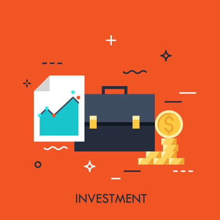 Briefcase, document with graph and moneybag. Investment, banking, stock exchange, market trading, broker service concept. Vector illustration in flat style for website, presentation, report.