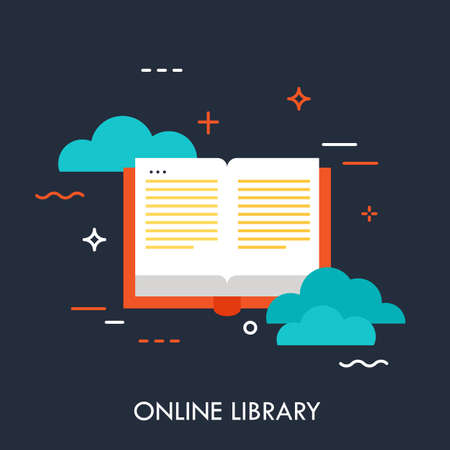 Online library, flat design banner, can be used for e-mail newsletter, web banners, headers, blog posts, print and more. Modern style logo vector illustration concept. Ilustracja