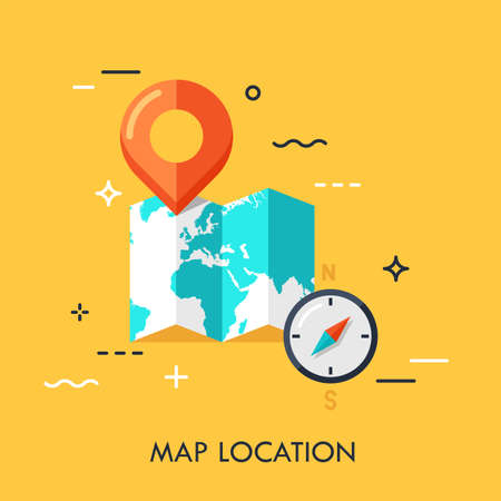 World map, destination point pin and compass. GPS navigation and location search concept, touristic service and travel mobile application logo. Vector illustration in flat style for website, ad.