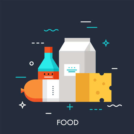 Milk, sausage, cheese and sauce. Online grocery shopping and supermarket food delivery service concept, fresh market products icon. Vector illustration in flat style for website, banner, badge. Ilustracja