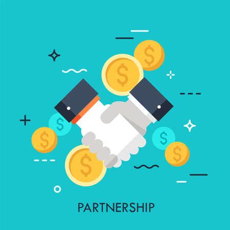 Uścisk dłoni i monety dolarowe. Partnerstwo biznesowe, efektywna i korzystna współpraca, zawieranie transakcji, koncepcja umowy. Ilustracja wektorowa w stylu płaski na stronie internetowej, baner, prezentacja, reklama. Ilustracje wektorowe