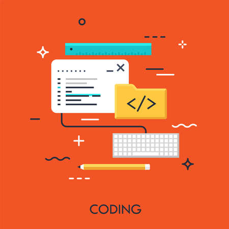 Program code window, keyboard, pencil, ruler and folder. Software, front-end web development and coding concept. Vector illustration in flat style for website, mobile application, banner, header.