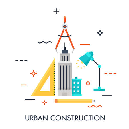 Skyscraper, ruler, pencil, lamp and compass. Urban design and construction, architecture, city and public space development, built environment, urbanism concept. Vector illustration in flat style. Ilustracja