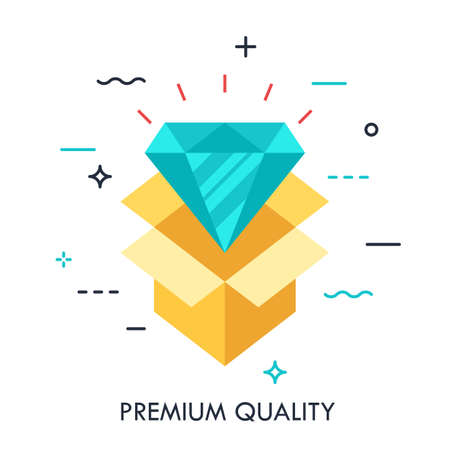 Shining diamond and opened cardboard box. Premium quality product icon, uxury goods delivery concept. Vector illustration in flat style for website,applications,banner,header,badge,jewelry store logo.
