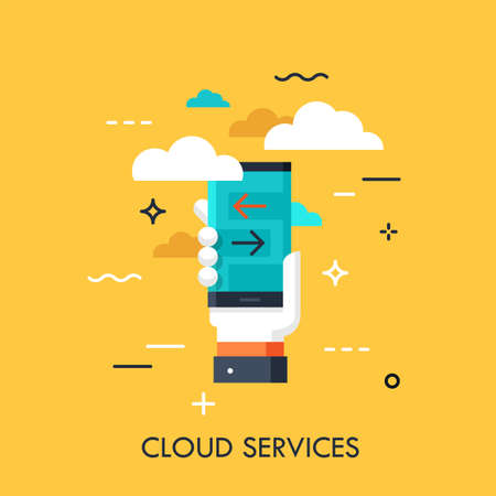 Hand holding smartphone with download and upload progress indicators on screen. Cloud computing services and technology, data storage concept. Vector illustration in flat style for banner, ad.