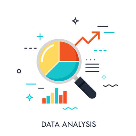 Flat design of data analysis magnifier with pie chart and arrow. Premium quality symbol. Modern style logo vector illustration concept. Ilustracja