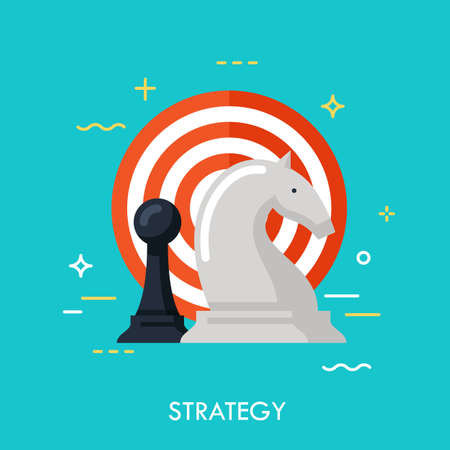 Strategy flat design banner with chess figures and target, can be used for e-mail newsletter, web banners, headers, blog posts, print and more. Modern style logo vector illustration concept Ilustracja
