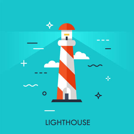 Flat Style, Thin Line Art Design of lighthouse. Illustration for application, web site development, information, mobile technologies vector icons or elements. Easy to edite, resize and customize. Ilustracja