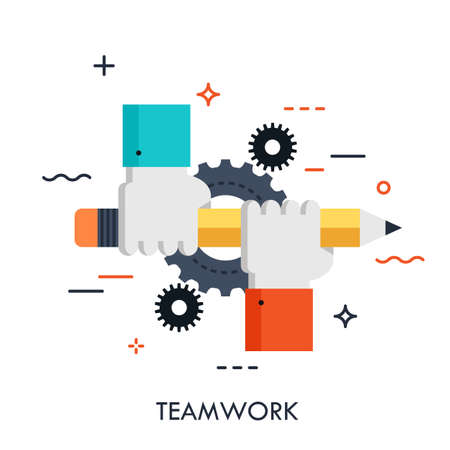 Two people holding pencil together. Teamwork, business community support and corporate strategy concept, office work icon. Vector illustration in thin line style for advertisement, website, header. Çizim