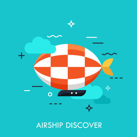 Flat icon with flat design element of horizon discoveries, inspiring dream, exploratory mission, traveling by airship, opening unknown. Modern style logo vector illustration concept.