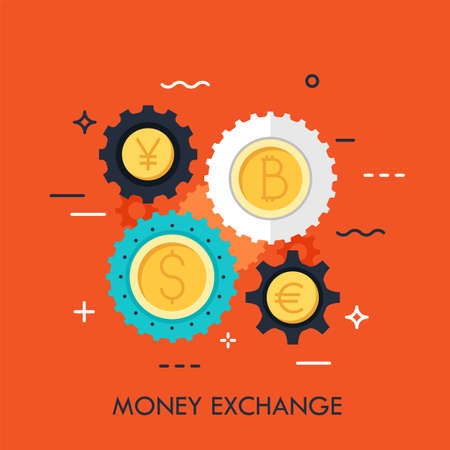 Gear wheels with coins of different currencies in center. Money, international financial market and exchange rates concept. Vector illustration for banner, brochure, presentation, poster, print.