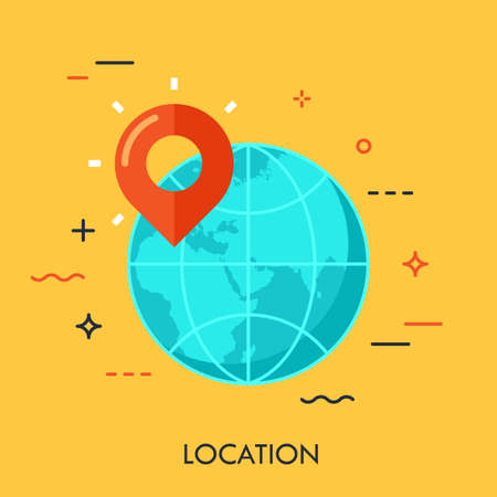 Earth planet and location marker on it. Flat icon design element of gps location, traveling, globe, opening unknown. Modern style logo for website and applications design. Vector illustration concept.