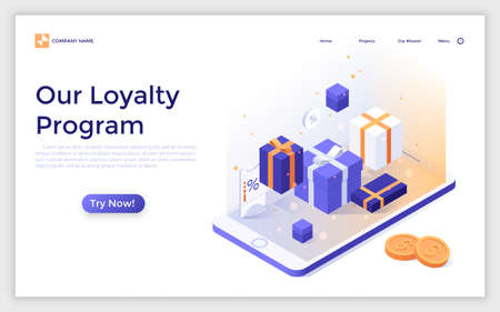 Landing page with gift boxes, mobile phone and coins. Modern isometric vector illustration for advertising, promotion of online store loyalty program, discount or reduced price for regular customers.
