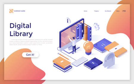 Web page with man touching giant computer screen and place for text. Digital library, electronic book shelf, web application for reading. Modern design template. Trendy isometric vector illustration. Zdjęcie Seryjne