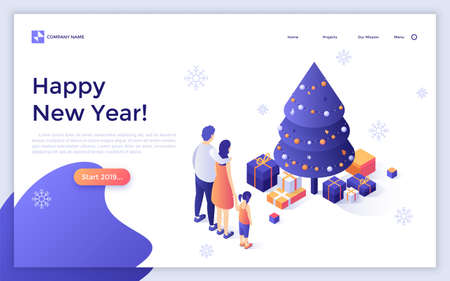 Landing page with family standing together in front of holiday Christmas tree and gifts and Happy New Year congratulation. Modern isometric vector illustration for web banner, festive website. Zdjęcie Seryjne