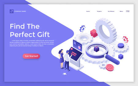 Landing page with people standing beside control panel, giant gear wheels, magnifier, present box and place for text. Online search for perfect gift. Isometric vector illustration for advertisement.