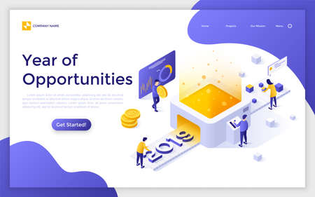 Landing page with people working on belt conveyor, 2019 number and place for text. Year of opportunities concept. Isometric vector illustration for advertisement, promotion of online service, website