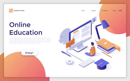 Website with man sitting in front of giant computer screen, graduation cap, books. Concept of prospects and opportunities in online education. Modern design template. Creative vector illustration. Zdjęcie Seryjne