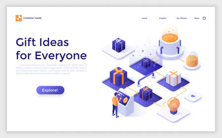 Landing page with person standing at control panel and choosing item to present and place for text. Concept of gift ideas for everyone. Isometric vector illustration for internet service website.