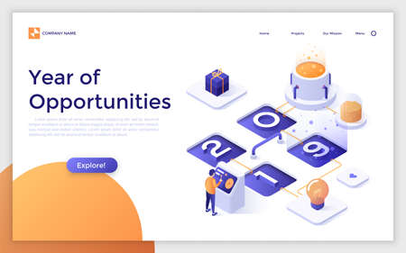 Landing page with man standing at control panel, 2019 number and place for text. Year of opportunities for online gift selection services. Isometric vector illustration for website, web banner. Zdjęcie Seryjne