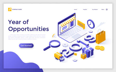 Landing page with online store on laptop screen, gift boxes, delivery truck, 2019 number and place for text. Year of opportunities for internet shopping. Isometric vector illustration for website.